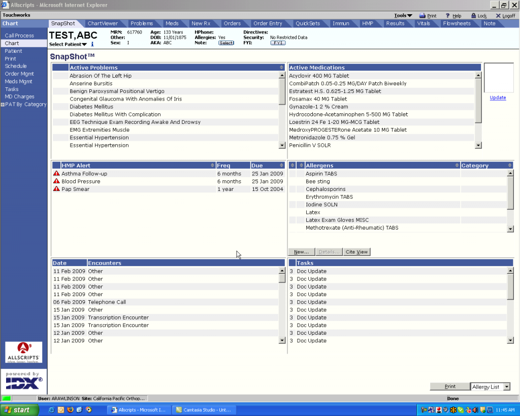 Allscripts Screenshot - EHR