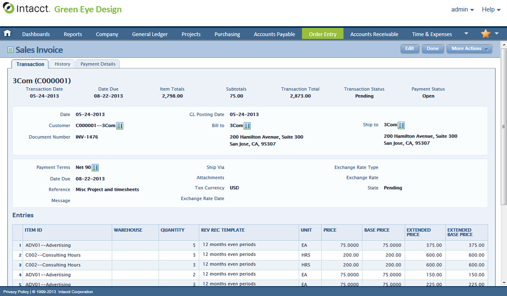 intacct ERP and accounting