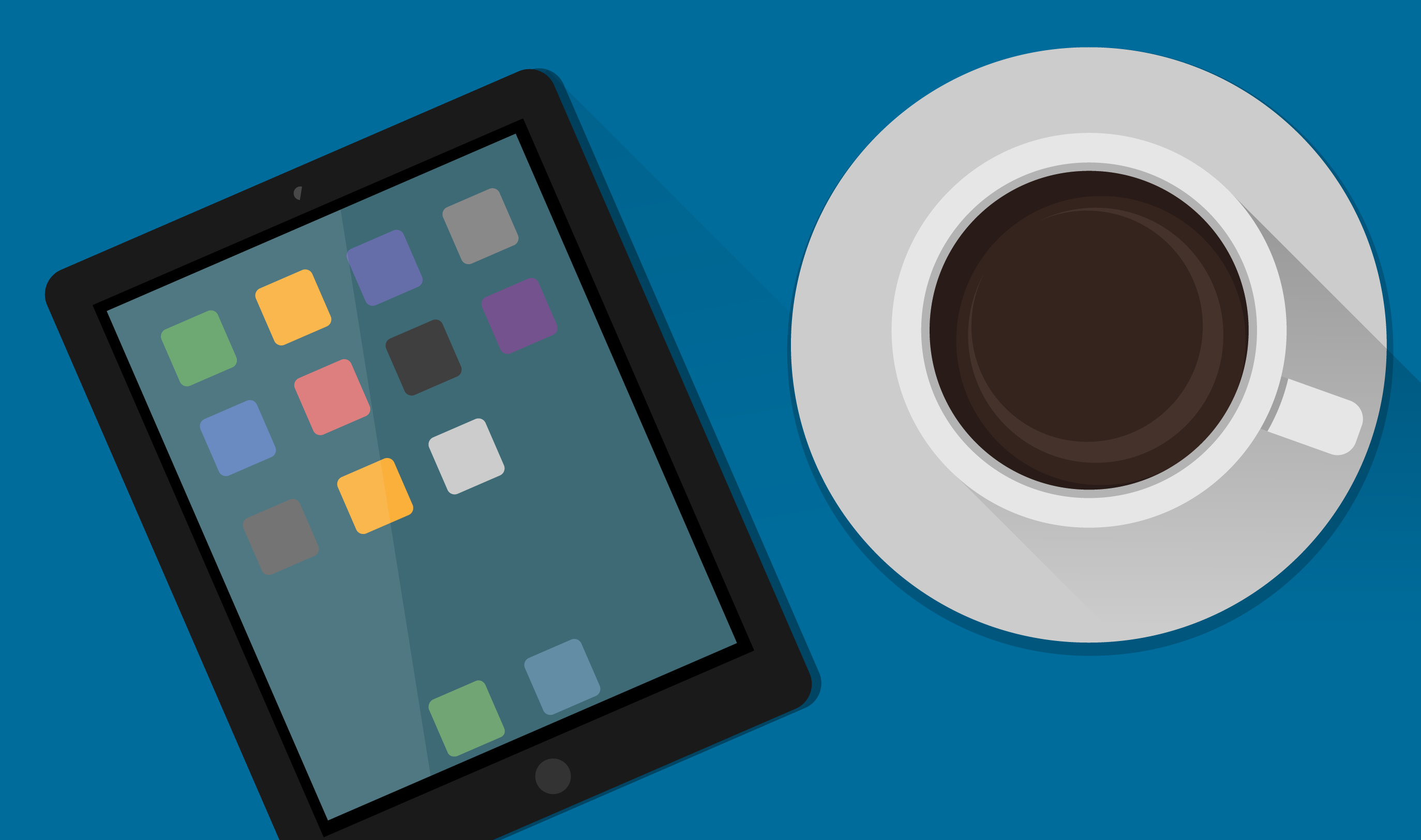 image of project management app and coffee