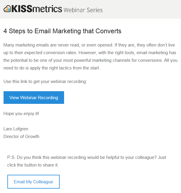 KISSmetrics email marketing example