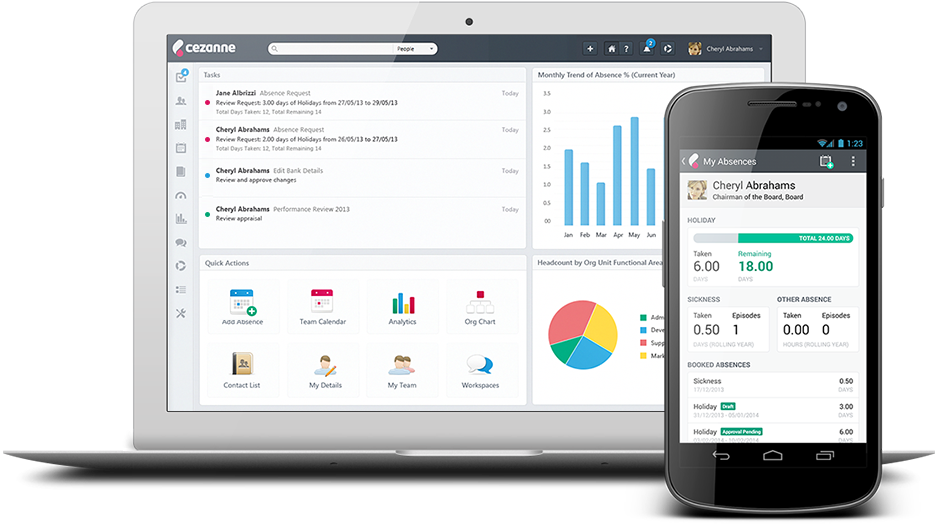 Hr software for small business: Cezanne hr dashboard and mobile interface