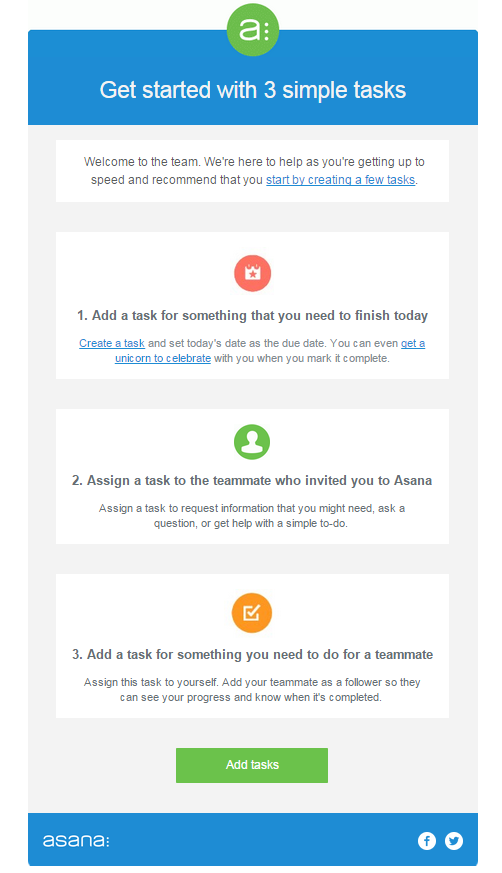 asana welcome email - marketing automation example #1