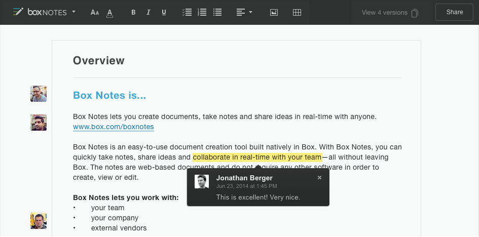Box Notes allows users to work with internal and external users