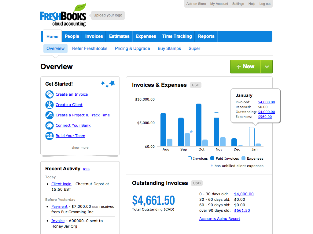 freshbooks invoice screenshot